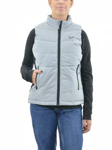 BASEHIT WOMEN'S P.P. DOWN VEST JACKET (182.BW10.575-PL GREY ML|BLACK)
